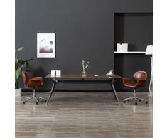 vidaXL Silla de oficina giratoria de cuero sintético marrón