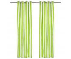 vidaXL Cortinas y aros de metal 2 piezas tela verde a rayas 140x175 cm