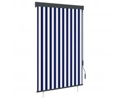 vidaXL Estor enrollable de exterior azul y blanco 120x250 cm
