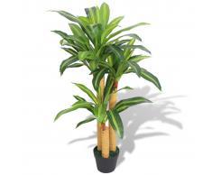 vidaXL Planta de drácena artificial con maceta 100 cm verde