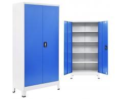 vidaXL Armario de metal de oficina gris y azul 90x40x180 cm