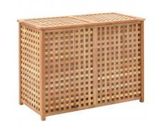 vidaXL Cesto para ropa sucia 87,5x46x67 cm madera maciza de nogal