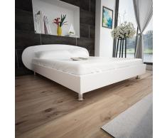 vidaXL Marco de cama blanco de cuero artificial, 140 x 200 cm