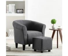 vidaXL Set de sillón con taburete reposapiés 2 piezas tela gris oscuro