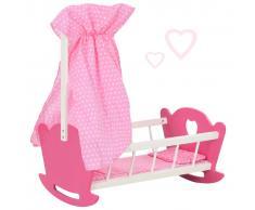 vidaXL Cama de juguete para muñecas con dosel de MDF rosa 50x34x60 cm