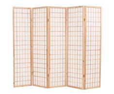 vidaXL Biombo plegable 5 paneles estilo japonés 200x170 cm natural