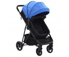 vidaXL Cochecito/Silla de bebé 2 en 1 acero azul y negro