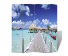 vidaXL Biombo divisor plegable diseño playa 160x170 cm