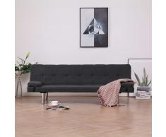 vidaXL Sofá cama con dos almohadas de poliéster gris oscuro