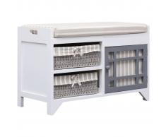 vidaXL Banco de recibidor de madera de Paulownia blanco 70x33,5x45 cm
