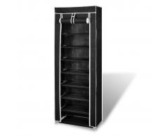 vidaXL Zapatero de tela con cubierta, negro 162 x 57 29 cm