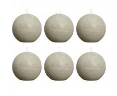 Bolsius Velas rústicas de bola 6 unidades 80 mm gris piedra