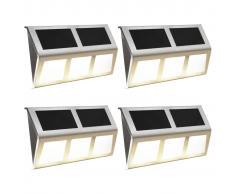 vidaXL Lámparas solares 4 uds luces LED blanco cálido