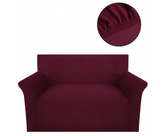 vidaXL funda elástica para sofá de tela acanalada color borgoña