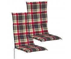 vidaXL Cojín para sillas de jardín 2 unidades 117x49 cm rojo y verde