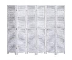 vidaXL Biombo divisor de 6 paneles madera gris 210x165 cm
