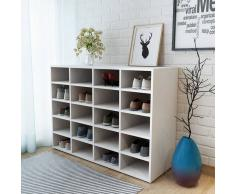 vidaXL Zapatero de madera aglomerada blanco 92x33x67,5 cm