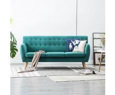 vidaXL Sofá de 3 plazas con tapizado de tela 172x70x82 cm verde