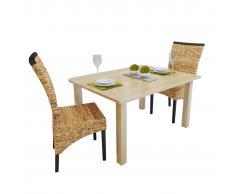 vidaXL Sillas de comedor 2 unidades madera maciza de mango y abacá