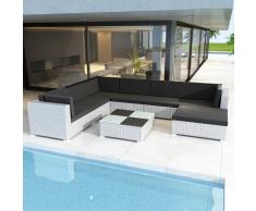vidaXL Set muebles de jardín 8 piezas y cojines ratán sintético blanco
