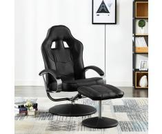 vidaXL Silla oficina reclinable con reposapiés cuero sintético negro