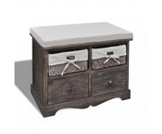 vidaXL Banco de almacenamiento de madera marrón 2 cestas tejidas Cojín