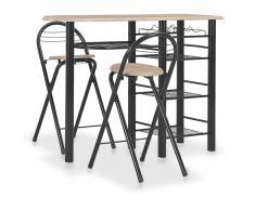 vidaXL Mesa y taburetes de cocina con estantes de madera y acero