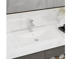 vidaXL Lavabo Cerámico Forma Rectangular Blanco Agujero de Grifo 60x46cm