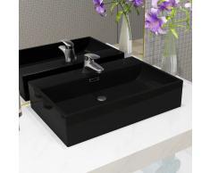 vidaXL Lavabo con orificio para grifo cerámica negro 60,5x42,5x14,5 cm