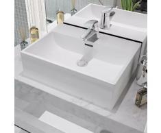 vidaXL Lavabo con orificio para grifo cerámica blanco 51,5x38,5x15 cm