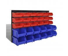 vidaXL Cajas de almacenaje de garaje de pared 30 pzas azul y rojo