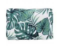 vidaXL Cojín de resplado de jardín de tela estampado hojas 40x60x20 cm