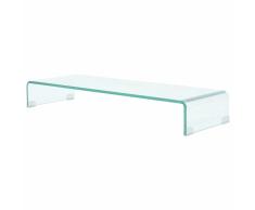 vidaXL Soporte para TV/Elevador monitor cristal claro 90x30x13 cm