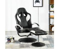 vidaXL Silla oficina reclinable con reposapiés cuero sintético blanco