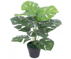 vidaXL Planta de monstera artificial con maceta 45 cm verde