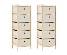 vidaXL Estantería de madera de cedro con 5 cestas de tela 2 uds beige