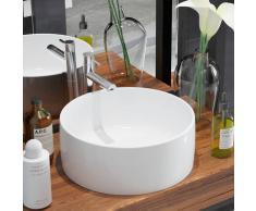 vidaXL Lavabo redondo de cerámica 40x15 cm blanco