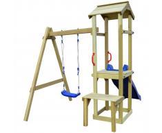 vidaXL Parque infantil de jardin con columpio y tobogán 228x168x218 cm madera pino