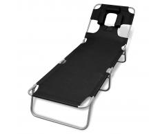 vidaXL Tumbona negra plegable con cojín para la cabeza y respaldo ajustable