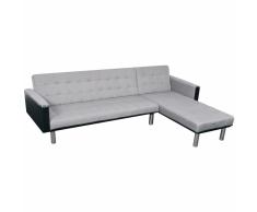 vidaXL Sofá cama esquinero tela 218x155x69 cm negro y gris
