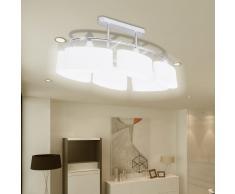 vidaXL Lámparas de techo 4 uds con pantalla de cristal elipsoidal E14