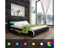 vidaXL Cabecero de Cama Negro con LED 180 cm + Colchón Espuma Viscoelástica