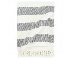 vidaXL Manta a rayas de algodón gris antracita 160x210 cm