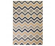 vidaXL Alfombra moderna estampado zigzag marrón/negro/azul 120x170 cm