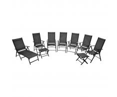 vidaXL Conjunto de muebles jardín plegable 9 piezas aluminio negro