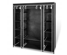vidaXL Armario de tela negro con compartimento 45 x 150 176 cm
