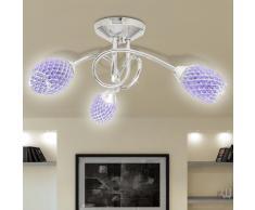 vidaXL Lámpara de techo con tres focos ovales de cristal acrílico morado, G9