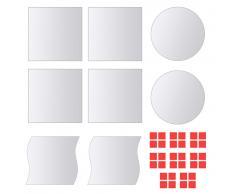 vidaXL Azulejos de espejo de diversas formas vidrio 8 unidades