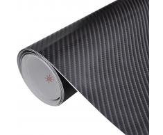 vidaXL Película De Coche Vinilo Fibra Carbon 4D Negro 152 x 200cm