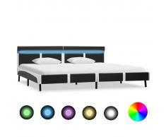 vidaXL Estructura de cama con LED cuero sintético gris 180x200 cm